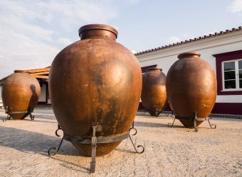 Huge clay wine containers in Alentejo region, Portugal